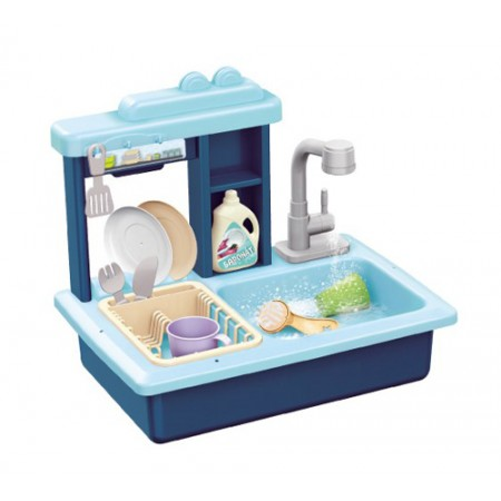 Detský drez na umývanie riadu TEDDIES s kohútikom na vodu modrý