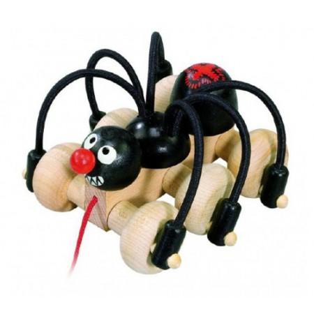 Detský ťahací čierny pavúk DETOA drevený 11cm