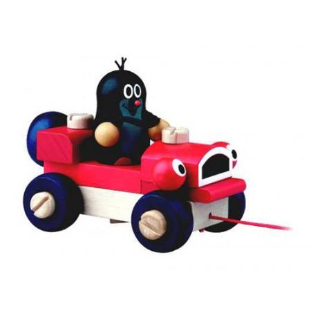 Detské ťahacie auto s Krtkom DETOA drevené 14cm