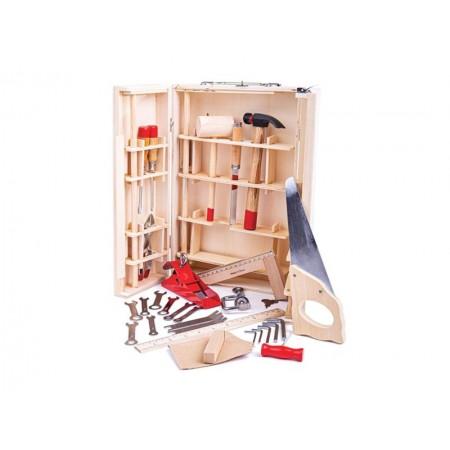Detský kufrík s náradím BIGJIGS TOYS Junior drevený