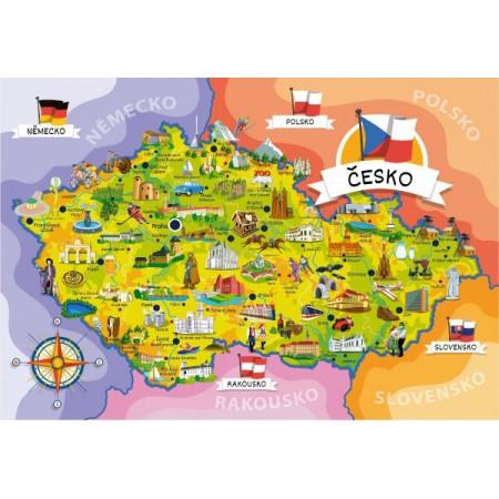 Puzzle MAPA ČESKEJ REPUBLIKY 120 dielov + 14 kvízov
